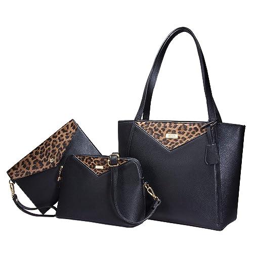 70576cce7a0 Tibes Fashion Pu Leather Handbag+Shoulder Bag+Purse 3pcs Bag Tote
