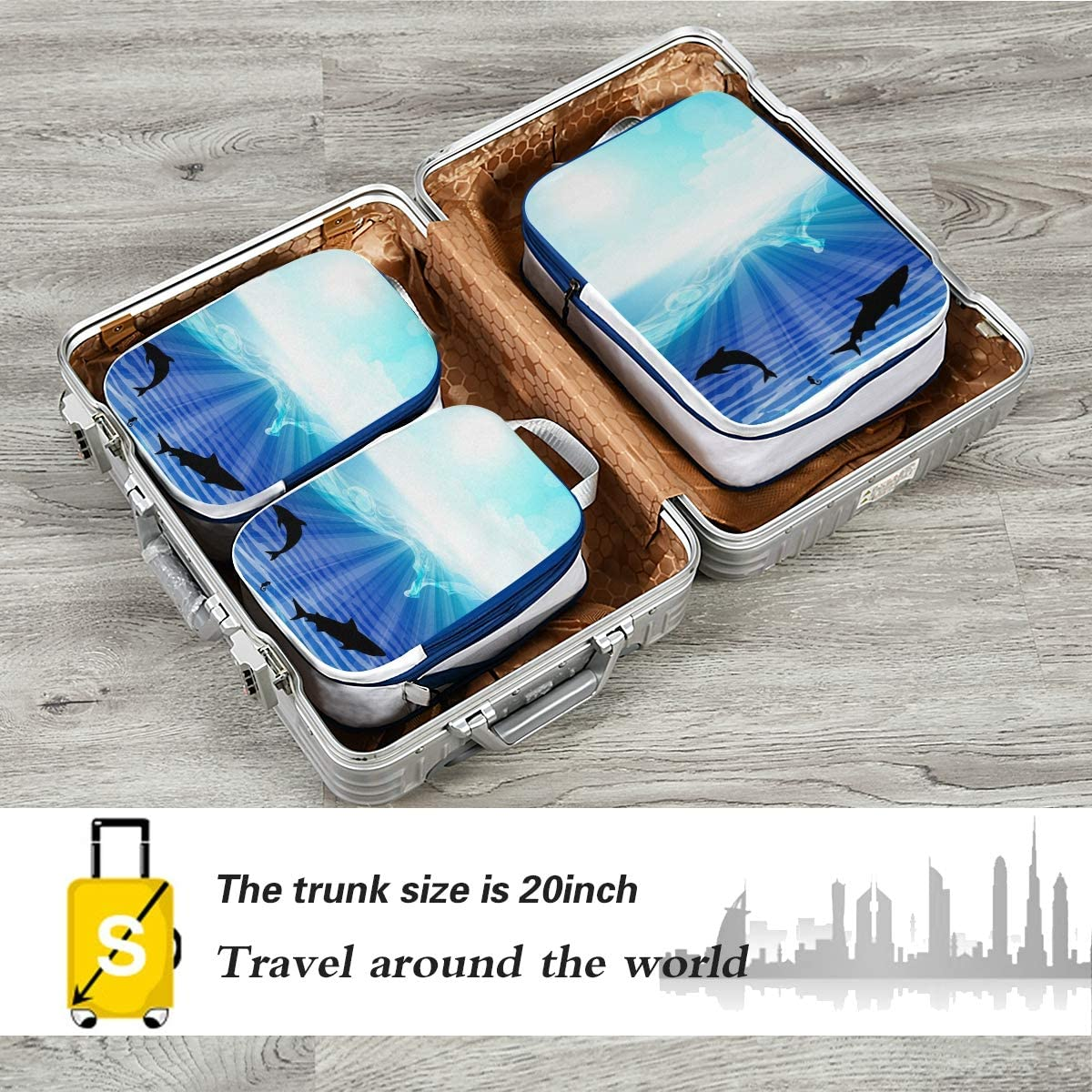 LUPINZ Jumping Dolphins Travel Luggage Packing Organizers 3 Pieces Travel Cubes