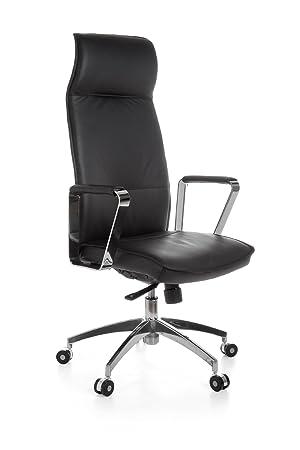 AMSTYLE Office Chair Verona Black Leather Desk Chair X XL 120 Kg  Synchronous Mechanism Executive