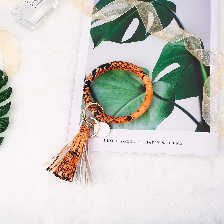 Girls. Wristlet Keychain Large Leather Tassel Keychain Gifts for Women LNEKEI PU Leather Key Ring Bracelet