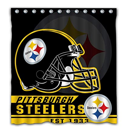 Image Unavailable Not Available For Color Felikey Custom Pittsburgh Steelers Waterproof Mildew Proof Shower Curtain