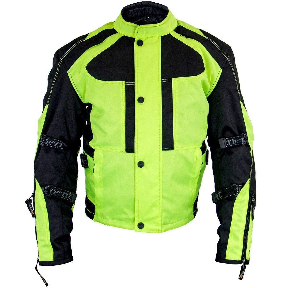 Neon Green Xelement XS3000 Momentum Mens Black//Neon Green Tri-Tex Armored Motorcycle Jacket Small