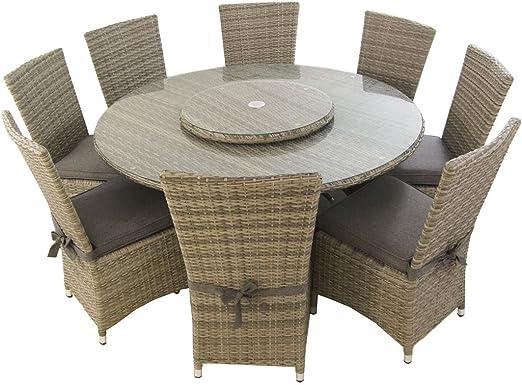 Edenjardi Conjunto de Exterior, Mesa Redonda 150 cm y 8 sillas con ...