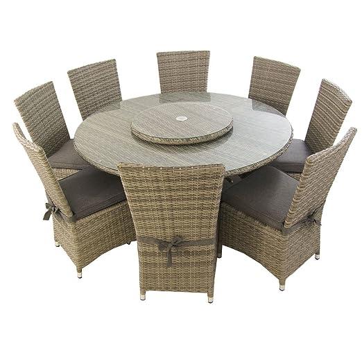 Edenjardi Conjunto de Exterior, Mesa Redonda 150 cm y 8 sillas con faldón, Aluminio y rattán sintético Plano Color Gris, 8 plazas, Cristal Templado 5 ...