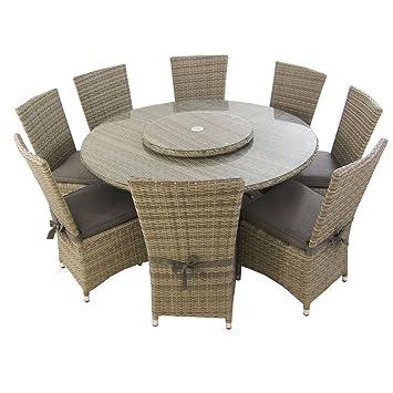 Edenjardi Conjunto de Exterior | Mesa Redonda 150 cm y 8 sillas con faldón | Aluminio y rattán sintético Plano Color Gris | 8 plazas | Cristal ...
