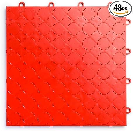 Durable Interlocking Modular Garage Flooring Tile RaceDeck CircleTrac Graphite 48 Pack