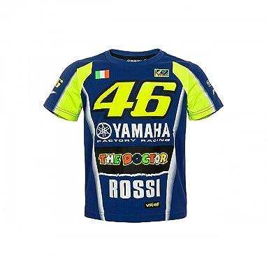82493ffa5d82 2018 Valentino Rossi 46 Yamaha Racing T-Shirt Kids - Blue Yellow 1 2   Amazon.co.uk  Clothing