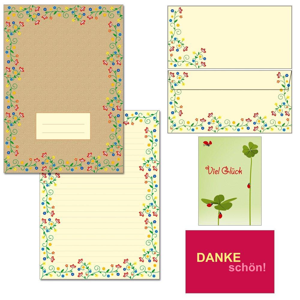 Blütenzauber Vintage - 1 Schreibblock DIN A4 7220 + 15 Briefumschläge DIN lang + 2 Postkarten (1 Schreibblock + 15 Kuvert mit Mappe) Konzept-G 7220+61030-15M
