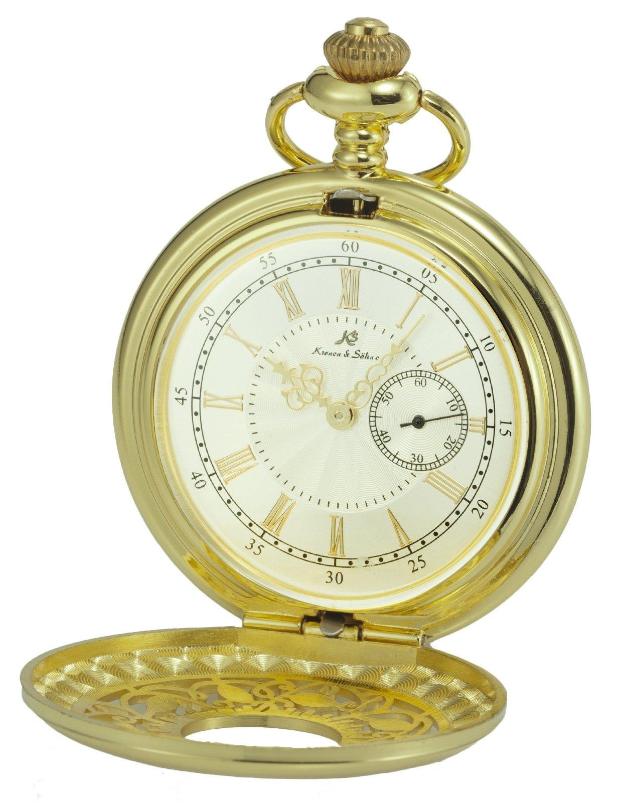 HELMASK pocket watch - Alloy Golden Round man mens Analog quartz Half hunter Pocket Watch