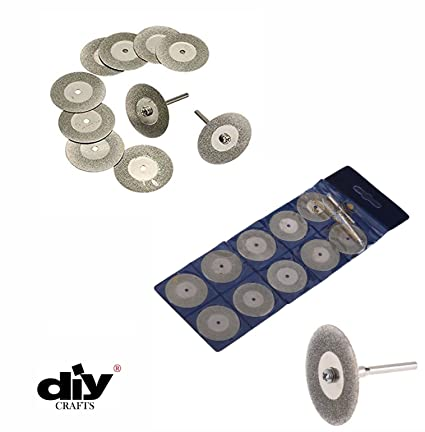 Buy toolscentre 10pcs 22mm mini diamond saw blade silver cutting toolscentre 10pcs 22mm mini diamond saw blade silver cutting discs with 2pcs connecting shank for dremel fandeluxe Image collections