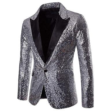 Kinlene Costume de Performance Homme Blazer à Paillettes Or Casual Men's One Fit Fit Costume Blazer Manteau Veste Sequin Top