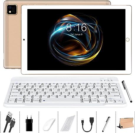 Tablet 10 Pulgadas Android 10.0 - YUMKEM Tableta 4GB RAM 64GB ROM con 8 núcleos 1.6 GHz | WiFi | Bluetooth | GPS | MicroSD 4-128 GB, Teclado ...