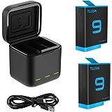 TELESIN Lagringsbatteriladdare för GoPro HERO9 svart, multifunktion 3-kanals laddare med SD-minneskortläsare, 2…