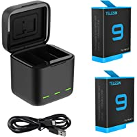 TELESIN Battery Charger for GoPro Hero 9 Black, Portable Charger 3-Channel Battery Charging Storage with 3 Pack…