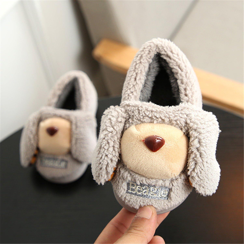 Baqijian Children Home Shoes Winter Kids Casual Cartoon Fur Velvet Plus Boy Flat Heels Sweet Girl Thicken Warm Snow Boot