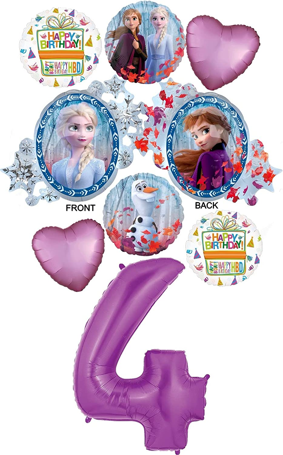 Purple Number 4 Anna and Olaf Balloon Bouquet Decorations Frozen 2 Party Supplies 4th Birthday Elsa