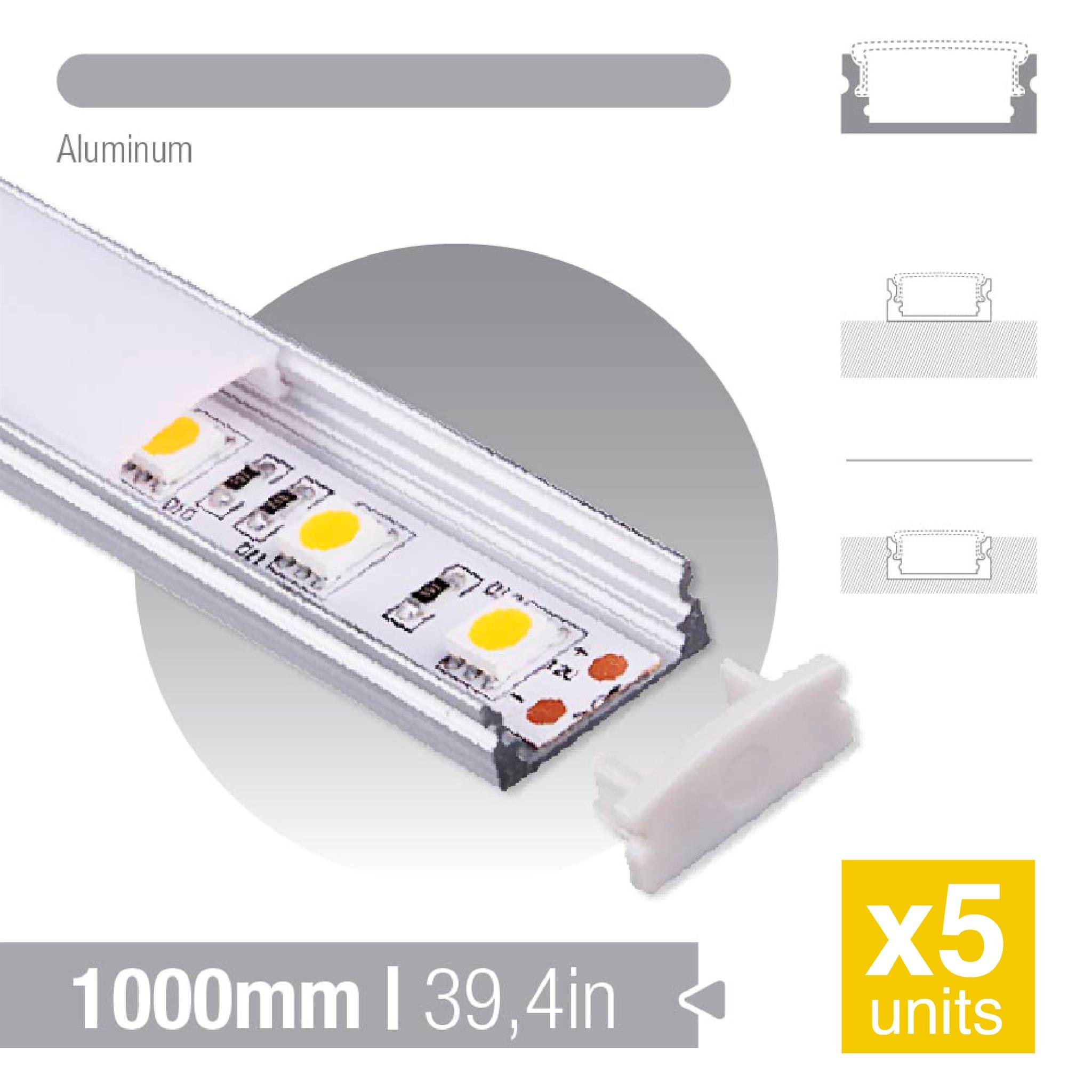 DEMASLED 5 Pack - Aluminun profile/Aluminum channel for led strip KIT Milky cover 7mm/0,27in Deep 1m/39,37 Length