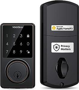 [2021 Upgraded] VOCOlinc Apple HomeKit ONLY Keyless Entry Deadbolt Door Lock Electronic LED Keypad Bluetooth Security Smart Auto Locking Home Hub Remote Control (TGuard Aged Bronze)