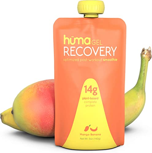 Huma Gel Post Workout Recovery Smoothie, 6 Pouches, Mango Banana – 14g Complete Protein Plant Based in Ready to Drink Shake