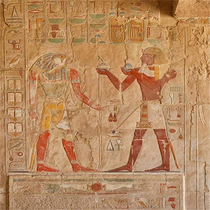 Vinyl 16x10ft Egypt Ancient Art Cleopatra Backgroud for Photography Egyptian Mural Brown Perchment Textured Backdrop Africa Souvenir Travel Tourism Cairo Card Historic Temple Decoration