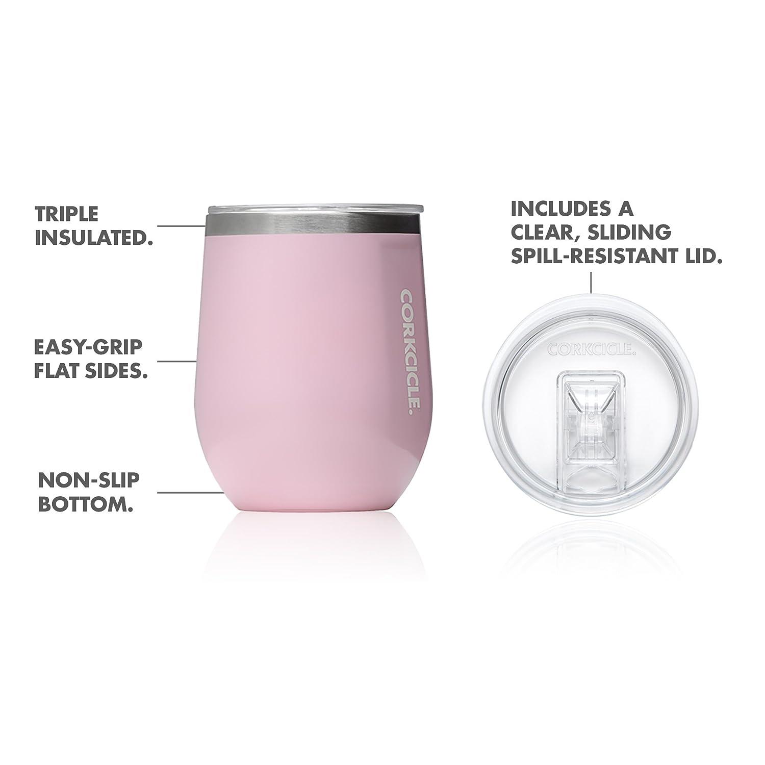 299f27147567 Amazon.com | Corkcicle 12 oz Triple-Insulated Stemless Glass (Perfect for  Wine) - Gloss Rose Quartz: Wine Glasses