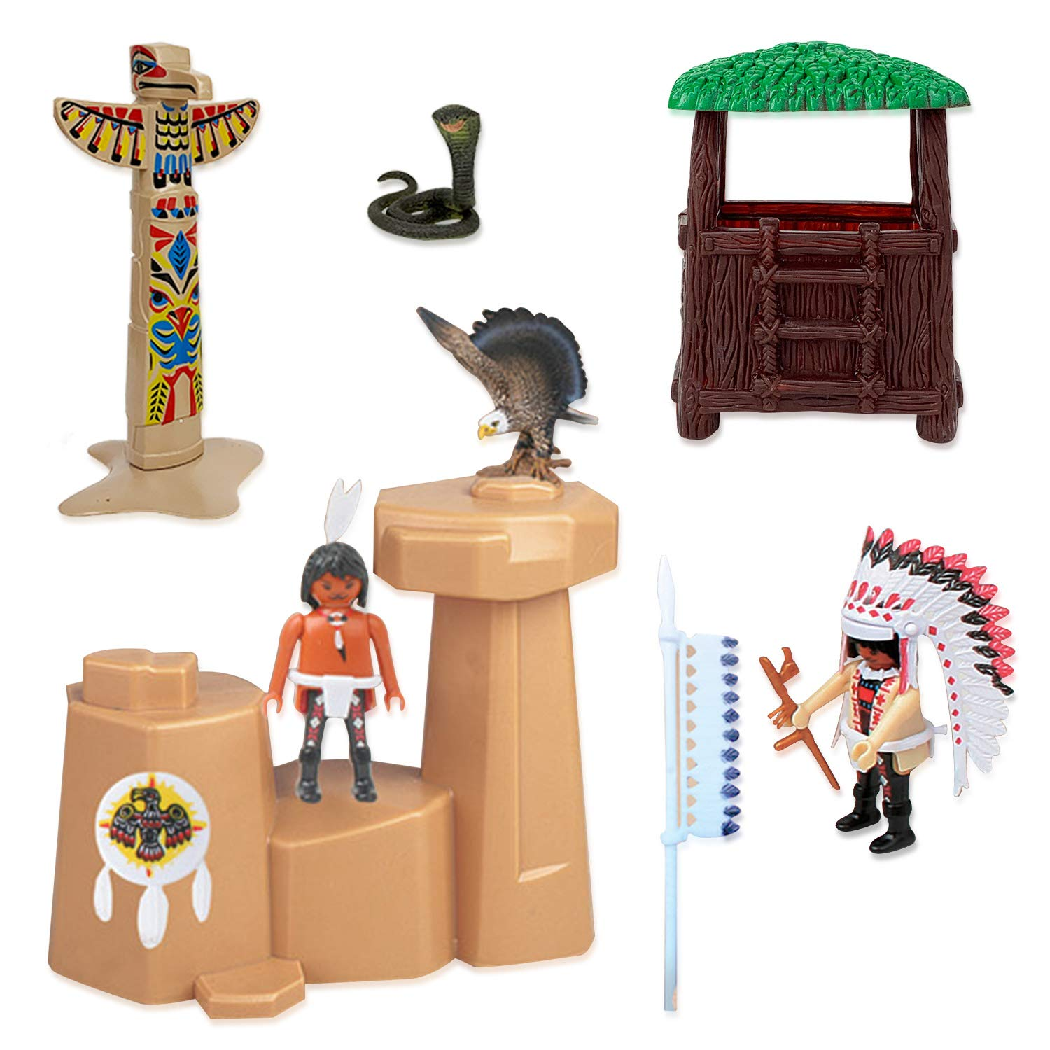 Educational Toy Soldiers Native American Action Figurines and Accessories Liberty Imports Deluxe Wild West Cowboys /& Indians Plastic Figures Playset