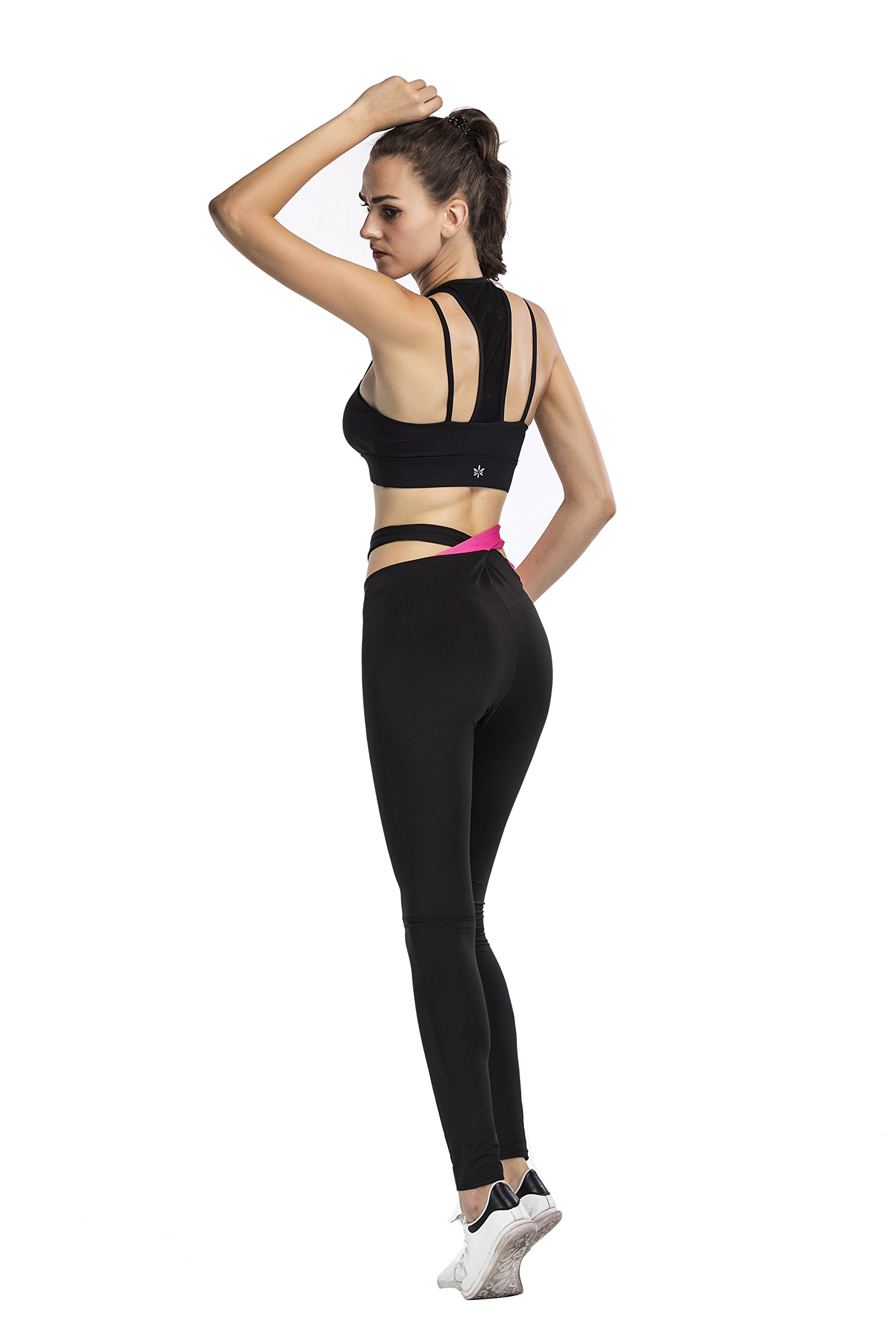 Gymsupply Women\'s Yoga Capri Pants Sport Tights Workout Running Leggings With Side Pocket and Sexy Waistband YW3(X-Large)