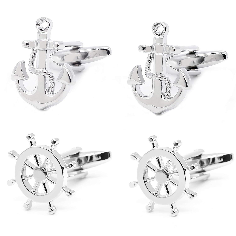 Gilind 2 Pairs Mens Cufflinks Nautical Anchor Ship Wheel Unique Wedding Business Shirt Cuff Links Mix Design Set Mens Jewelry Gift Box UK_B074P4FFNF