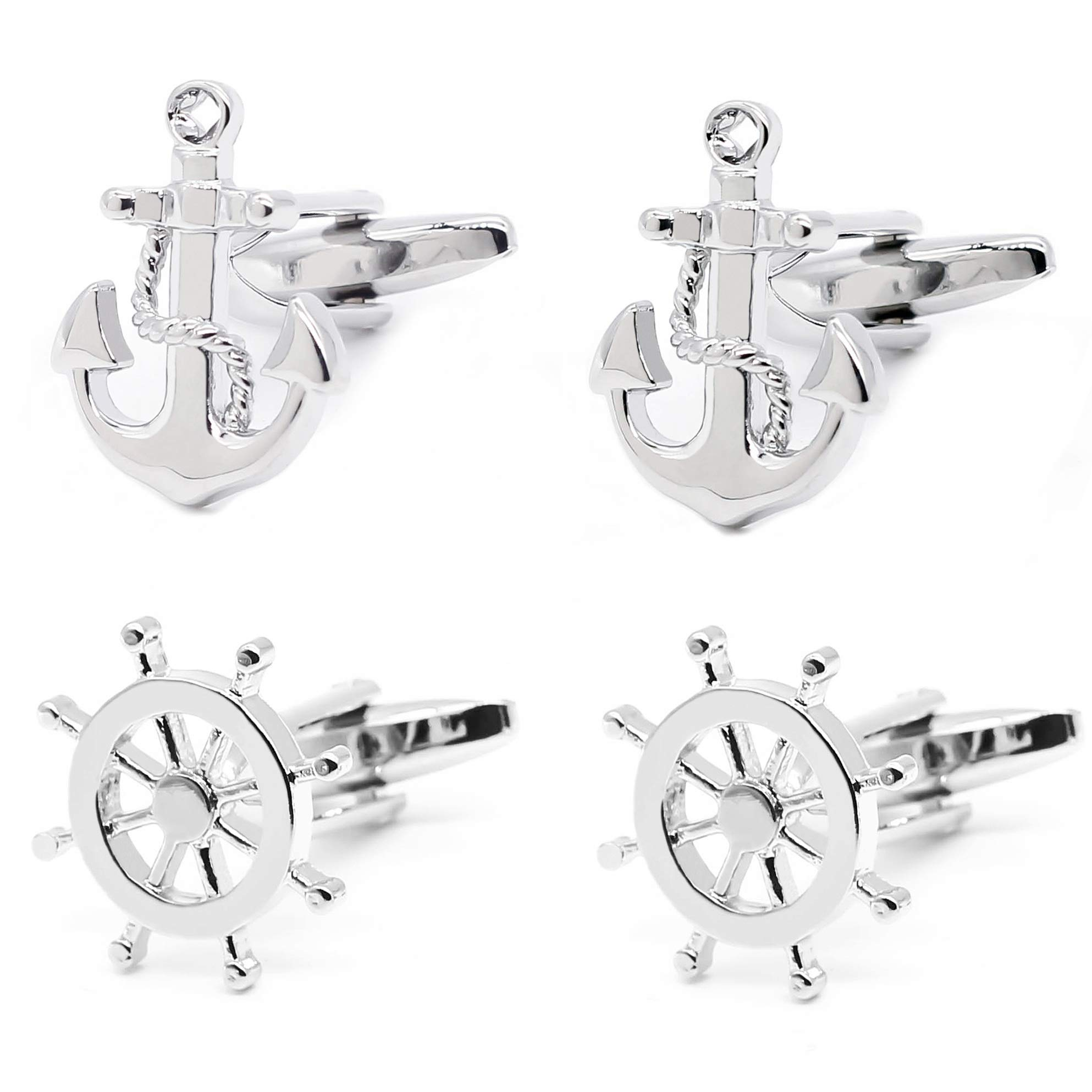Gilind 2 Pairs Mens Cufflinks Nautical Anchor Ship Wheel Unique Wedding Business Shirt Cuff Links Mix Design Set Mens Jewelry Gift Box
