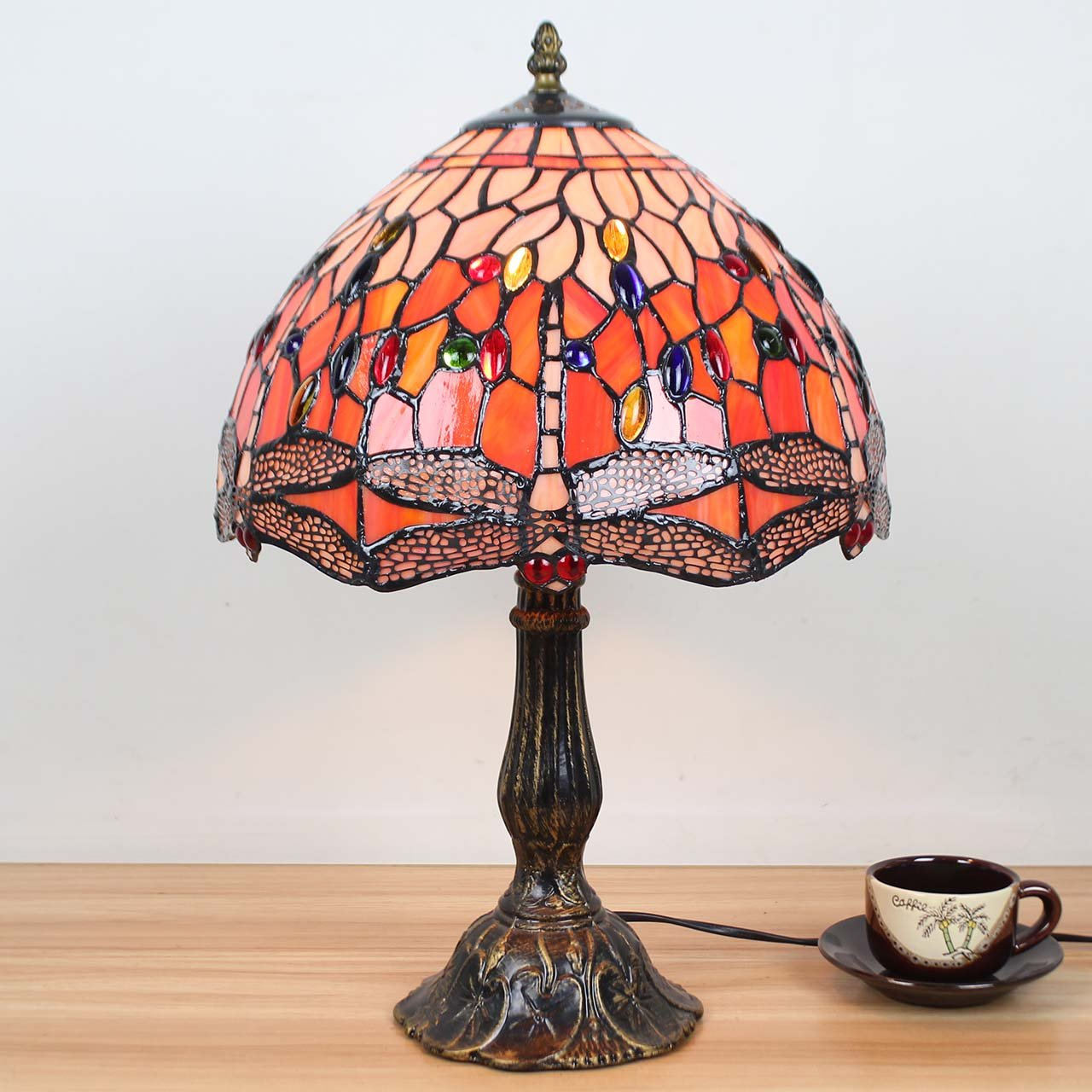 8a6a37143d74 Bieye L30023 18 inch Dragonfly Tiffany Style Stained Glass Table Lamp with  Zinc Base  Amazon.co.uk  Lighting