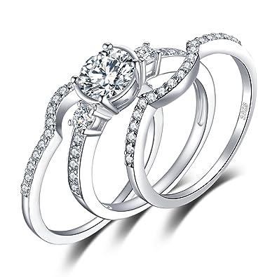 JewelryPalace Anillo 3 piezas Compromiso Zirconia cúbica Aniversario Boda Promesa Solitario Plata de ley 925