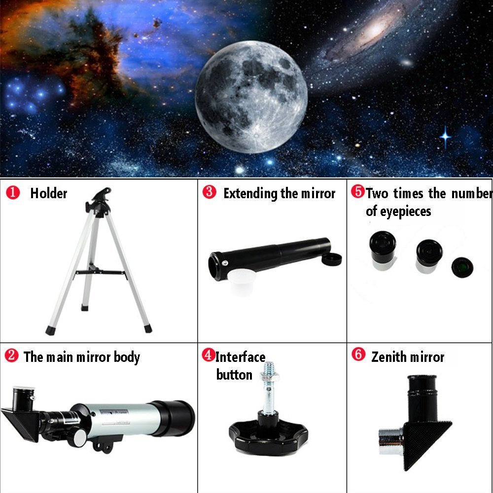 Astronomical Telescope Zoom 90X HD Outdoor Monocular Space Telescope with Tripod 360/50mm Spotting Scope for Kids Beginners - Uverbon