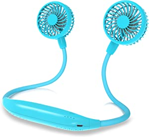 Portable Neck Fan, 2600mAh Battery Operated Sport Fan Ultra Quiet Hands Free USB Fan with 6 Speeds, Strong Wind, 360° Adjustable High Flexibility Wearable Personal Fan for Office Outdoor Travel (Cyan)