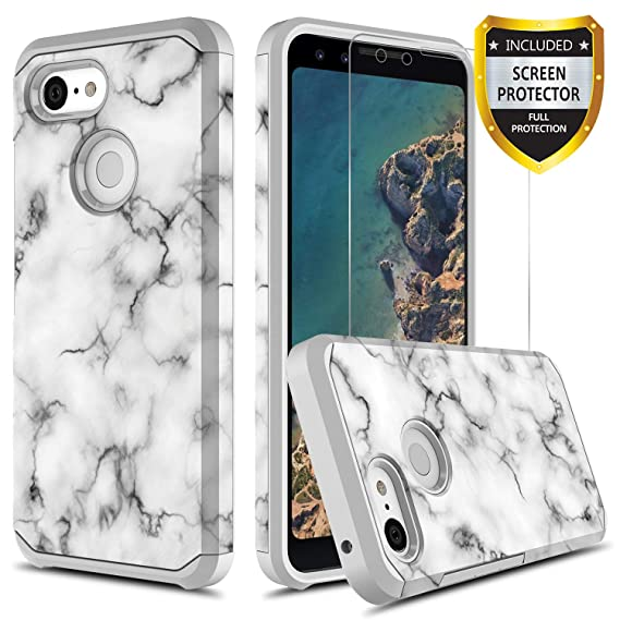 the best attitude 517ed e962a GORGCASE Pixel 3 Case with Screen Protector, Slim Thin Cute Design  Shockproof Drop Protection Girly Hard PC Soft TPU Teen Girls Women Men  Armor ...