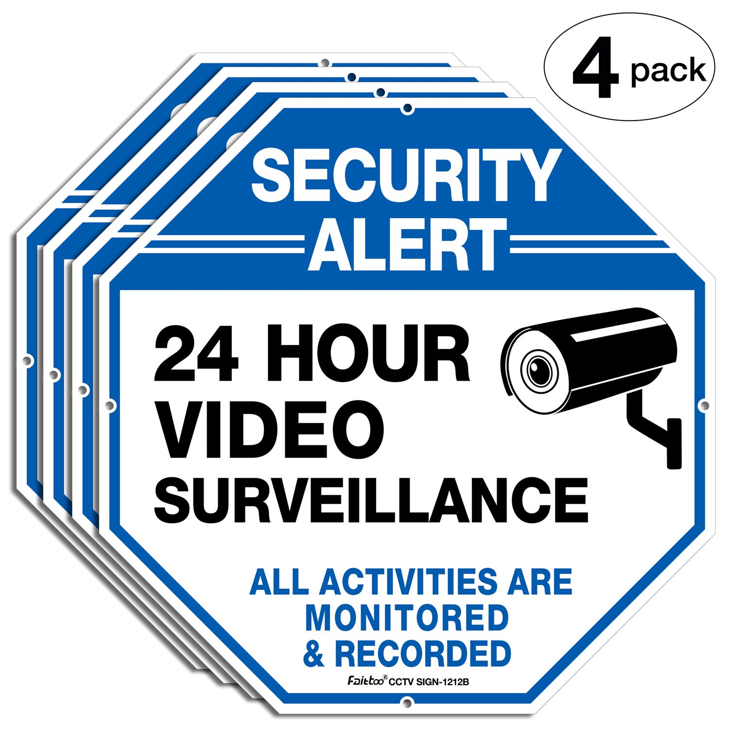 4-Pack Outdoor Video Surveillance Sign,Faittoo 12 x 12 Inches Octagon Rust Free 0.40 Aluminum Reflective Sign for Home Business CCTV Security Camera, UV Protected & Waterproof