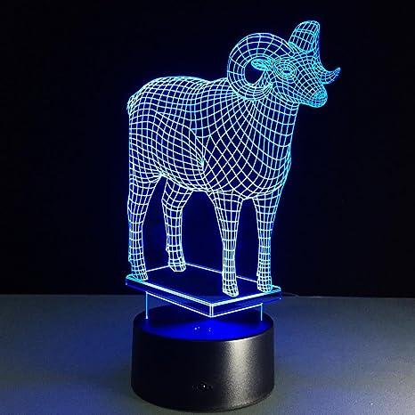 GZXCPC Oveja Lámpara 3D LED Illusion Luces de la Noche,La noche del interruptor del