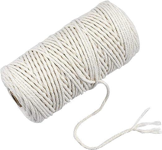 Fodlon Macrame Cuerda, 3mm x 100m Cuerda de Algodón Natural Hilo Macrame Hecha a Mano Craft Cuerda para DIY Artesanía, Manualidades, Colgador de Plantas - Beige: Amazon.es: Hogar