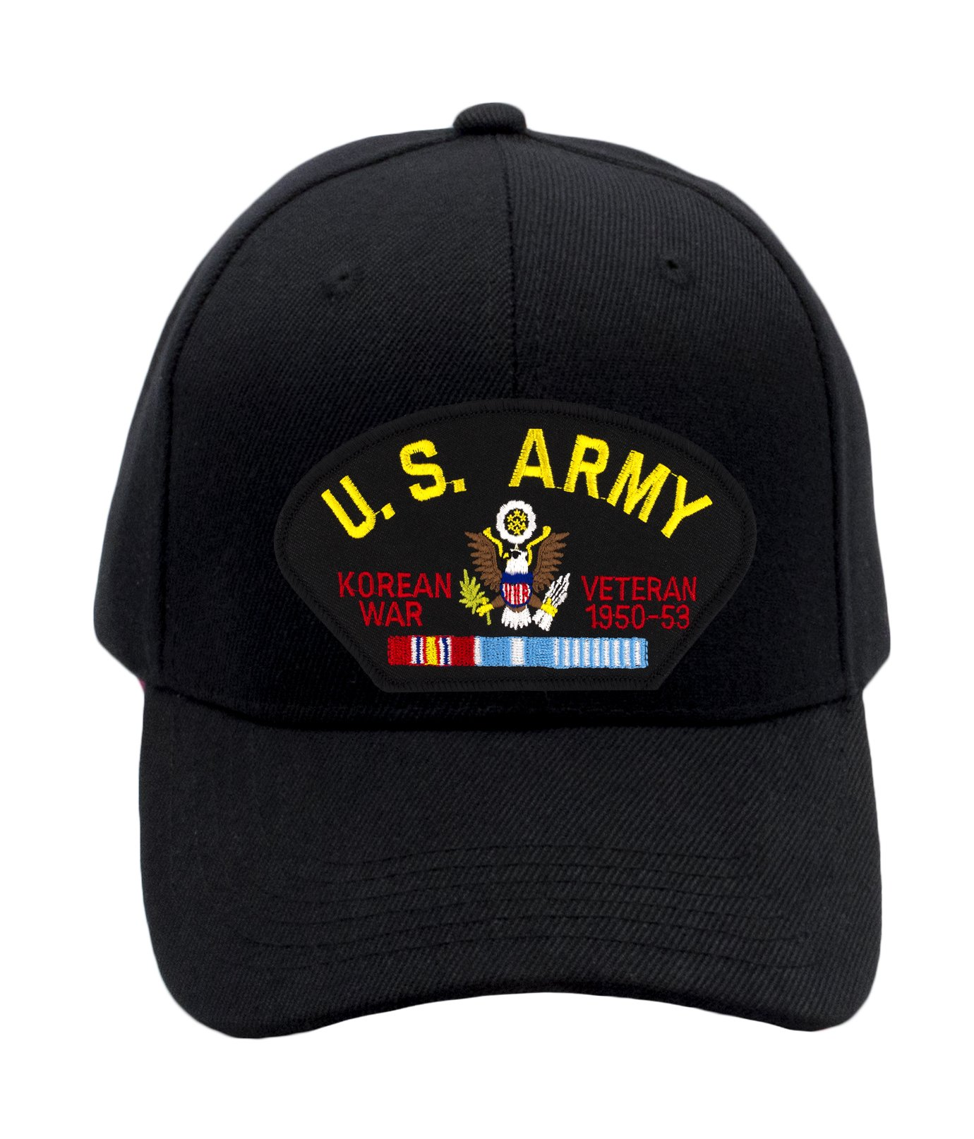 Patchtown US Army - Korean War Veteran Hat/Ballcap Adjustable One Size Fits Most (Multiple Colors & Styles) (Black, Standard (No Flag))