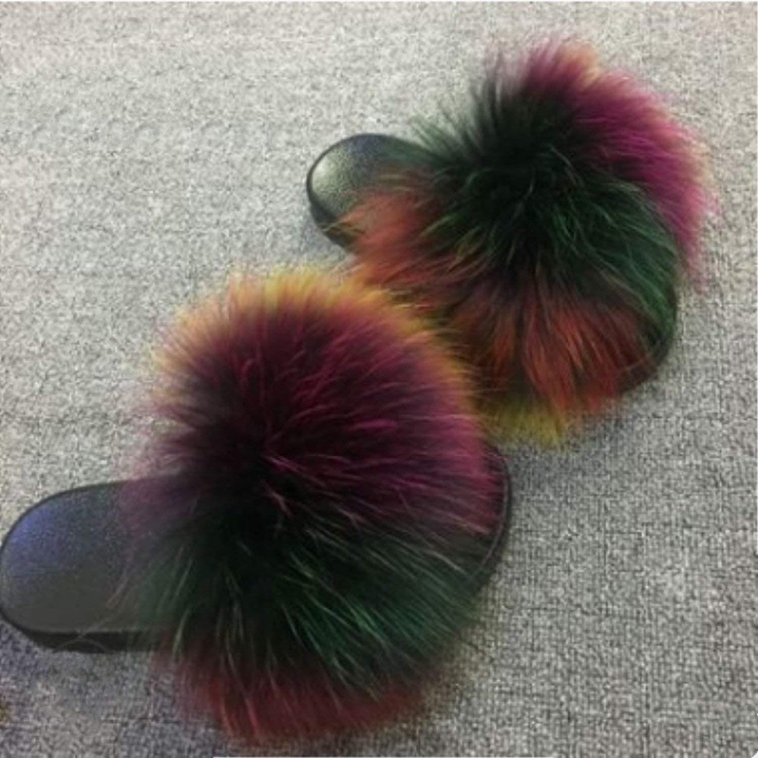 2019 Fox Fur Slide for Women Cut Slippers Fluffy Sliders Plush Furry Summer Flats Sweet Ladies Shoes Big Size 36-45,See as pic,6.5