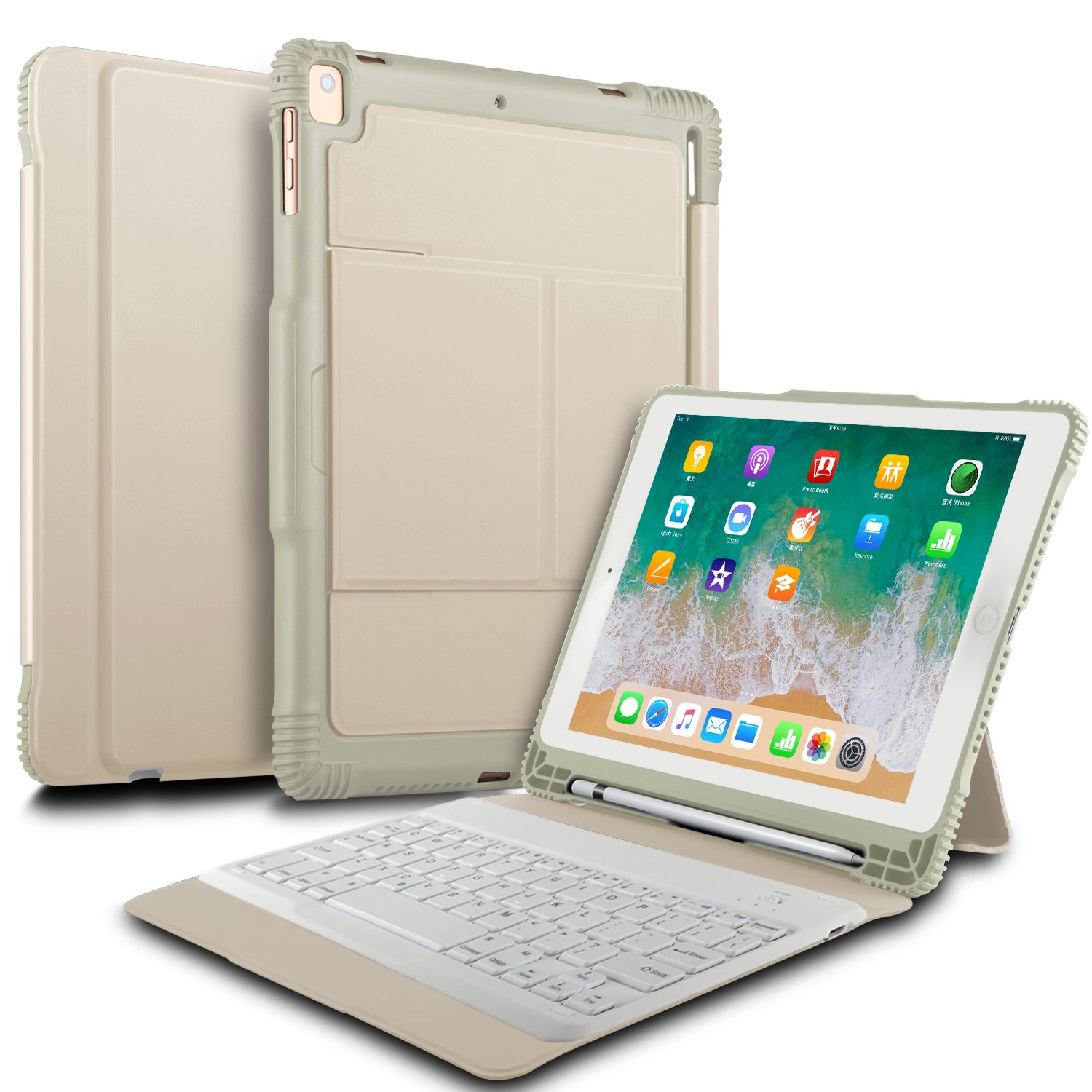 IVSO New iPad 9.7 2018 Case with Keyboard, Ultra-Slim Portable Detachable Wireless Keyboard Case with Stylus Holder for New iPad 9.7 2018/2017/iPad Pro 9.7/iPad Air 2/iPad Air Tablet (Gold)