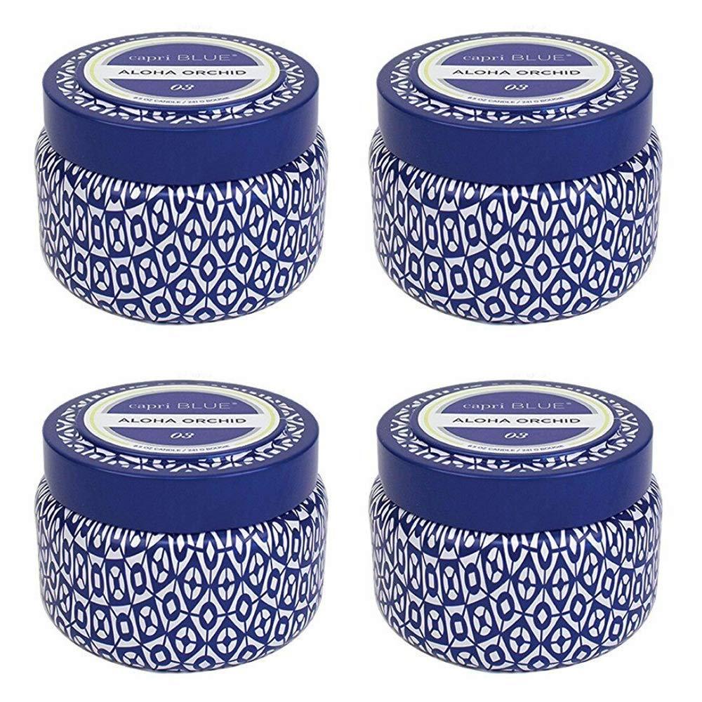 Capri Blue Signature Printed Travel Tin Candle(4 Pack) (Aloha Orchid)