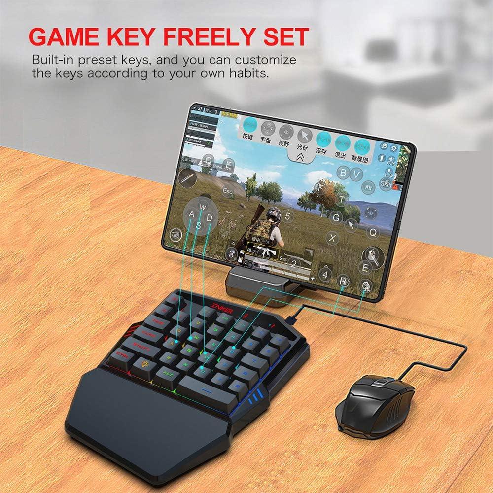 Docooler HXSJ K99 Juego de Mouse de Teclado para Juegos con una Sola Mano 35 Teclas BT4.2 Teclado inalámbrico + Mouse para Juegos con Cable con ...