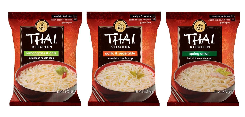Thai Kitchen Gluten Free Instant Rice Noodle Soup 3 Flavor Variety Bundle, 3 Each Lemongrass & Chili, Spring Onion, Garlic Vegetable, 1.6 Oz, Pack of 9