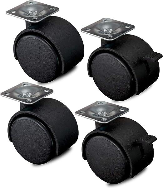Nirox 4x ruedas para muebles 50mm - Ruedas giratorias con freno ...