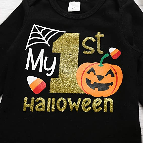 conjunto de ropa de 0 a 18 meses pantalones cortos con lazo diadema 3 piezas de disfraces de Halloween para beb/é reci/én nacido mi primer Halloween impreso de manga larga TM Fulltime