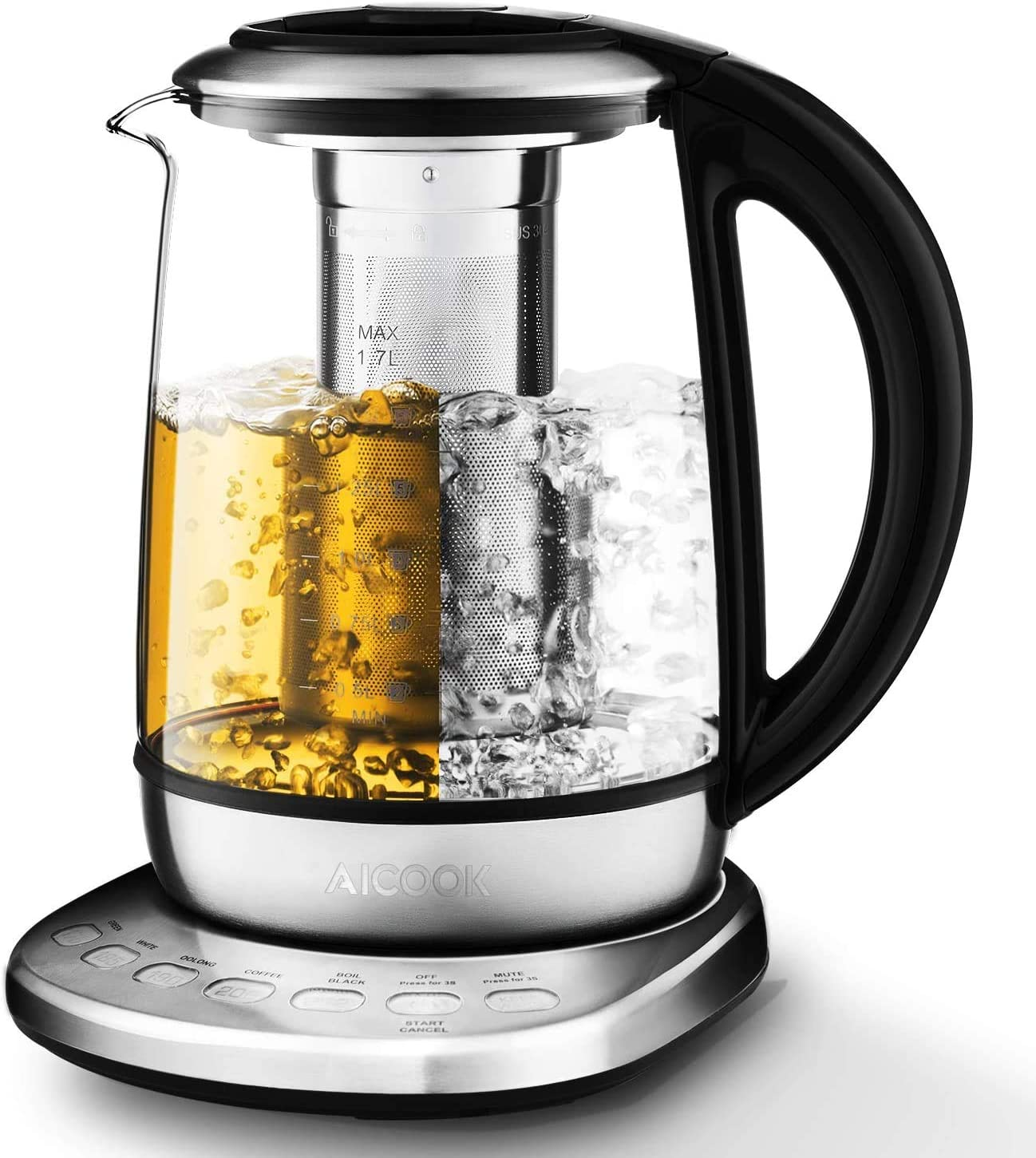 Aicook Electric Kettle 1.7L Glass Tea Kettle with 5 Variable Presets, One Touch Tea Maker, 100 Stainless Steel Inner Lid, Tea Infuser Bottom, Auto Shut off Boil Dry Protection, BPA free