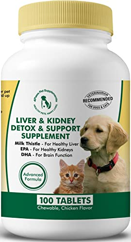 Milk Thistle Liver Kidney Supplement for Dogs and Cats with DHA, EPA, Silymarin, and Vitamin B B1 B2 B6 B12 to Prevent Liver and Kidney Disease – 100 Chewable Treats – Chicken Flavor