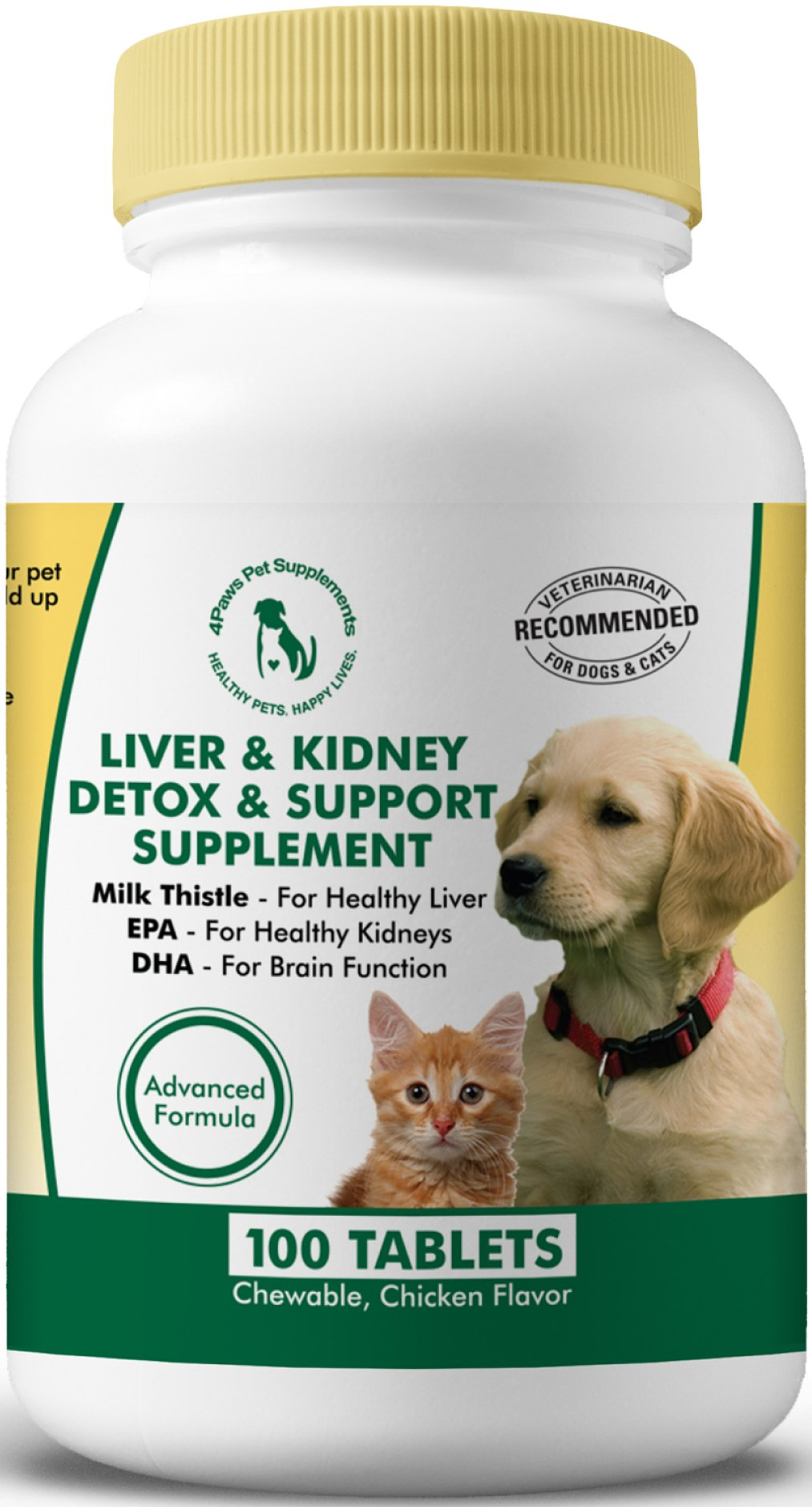 Milk Thistle Liver & Kidney Supplement for Dogs and Cats with DHA, EPA, Silymarin, and Vitamin B (B1 B2 B6 B12) to Prevent Liver and Kidney Disease - 100 Chewable Treats - Chicken Flavor by 4Paws Pet Supplements