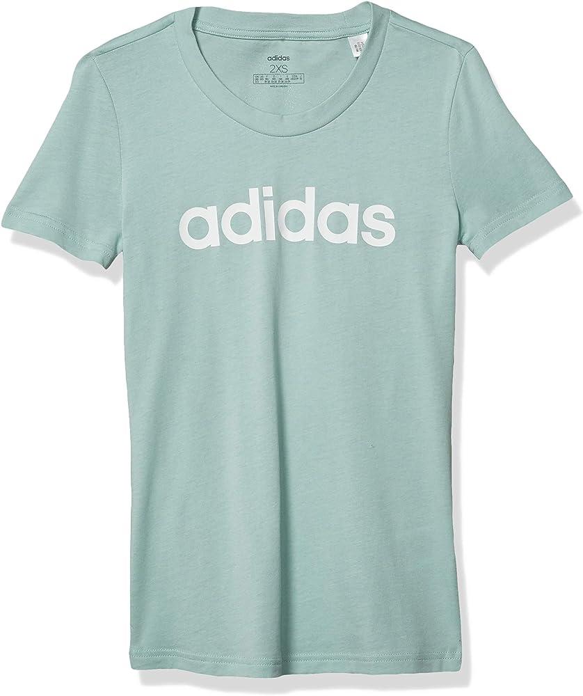 adidas Essentials Linear Slim tee Camisa, Tinte Verde/Blanco, Extra-Small niña: Amazon.es: Ropa y accesorios