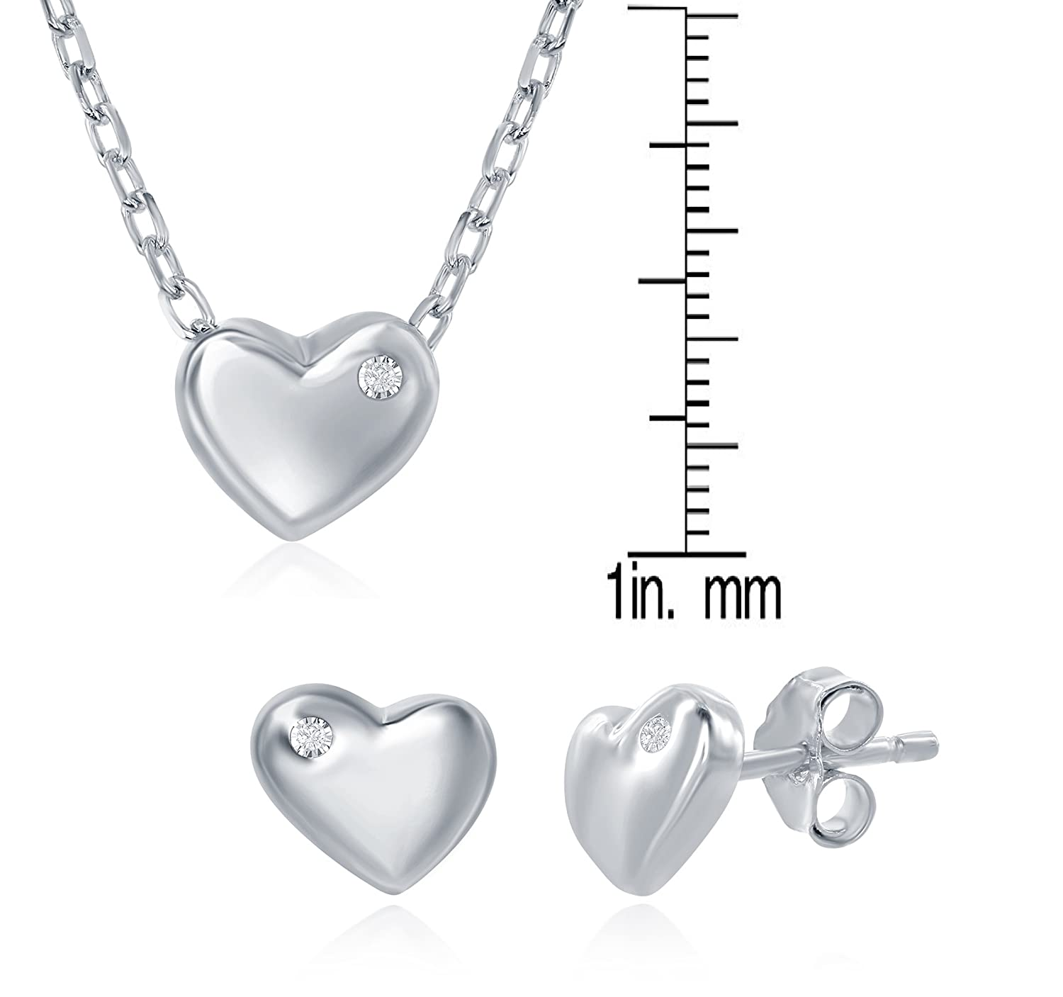Sterling Silver Dainty Childrens Puffed Heart with Single Cubic Zirconia 14+2 Necklace /& Earrings Set